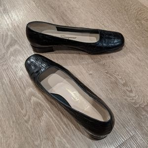 Ferragamo Black Low Heel Loafers